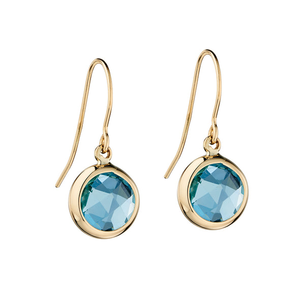 'Elements' 9ct Yellow Gold Blue Topaz Hook Drop Earrings