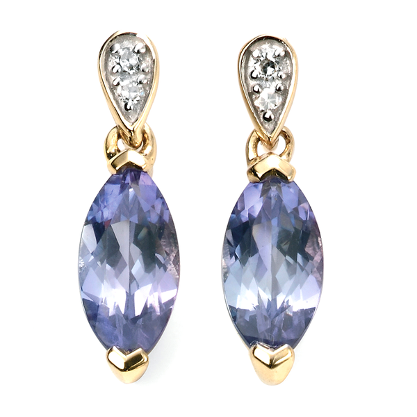 'Elements' 9ct Yellow Gold Marquise Shape Tanzanite & Diamond Drop Earrings