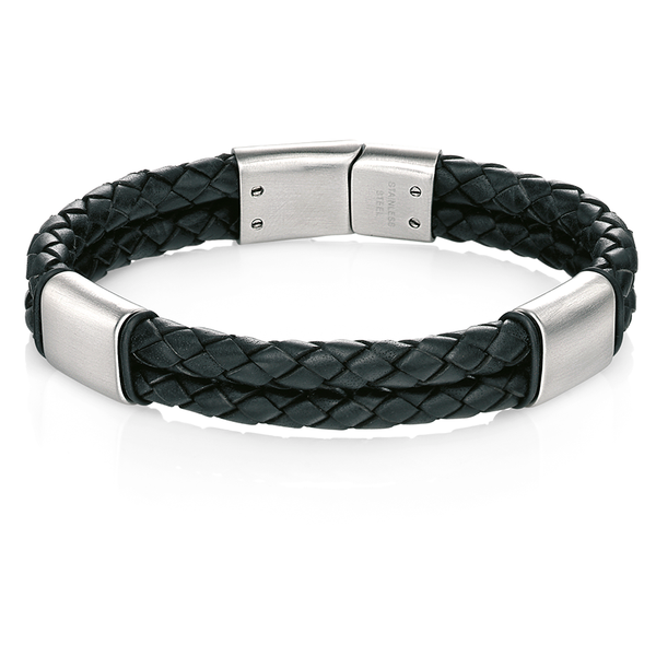 'Fred Bennett' Stainless Steel Black Leather Brushed Bracelet 8.5''