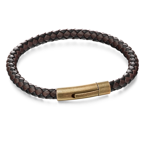 'Fred Bennett' Stainless Steel Black/Brown Leather Woven Bracelet