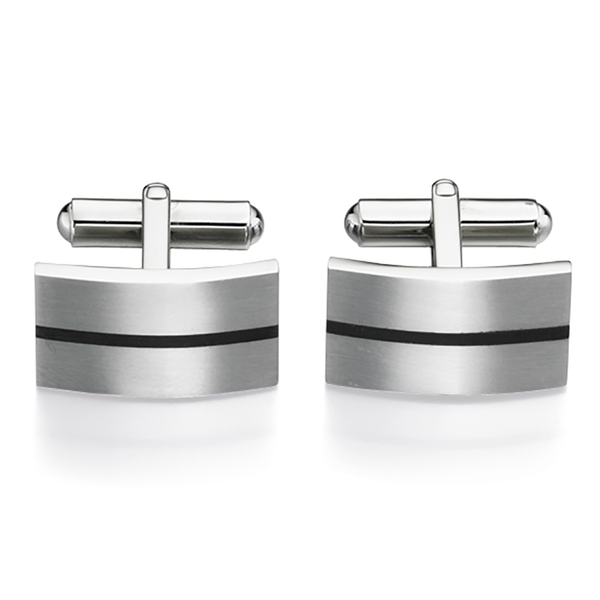 'Fred Bennett' Stainless Steel Black Enamel Brushed Rectangular Bar Link Cufflinks