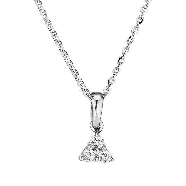 'Perfection' Sterling Silver & Swarovski Zirconia Trilogy Triangular Pendant & Chain