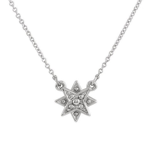 NORTH STAR NECKLACE STERLING SILVER ADJUSTABLE 16-18""