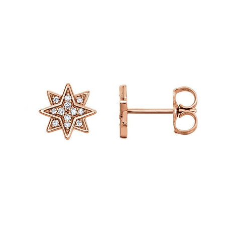 STAR DIAMOND STUD EARRINGS 14K ROSE GOLD