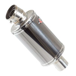 Lextek OP15 Black Chrome Exhaust Silencer (Right Hand) 200mm 51mm