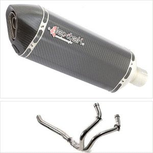 Lextek SP8C Carbon Fibre Hexagonal Exhaust System (Pillion Fitment) for Yamaha MT-07 (14-18)