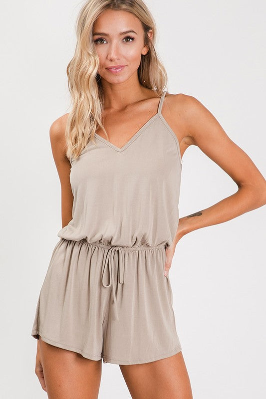 Summer Rompers, Taupe playsuit, v-neckline | Boutique Bleu