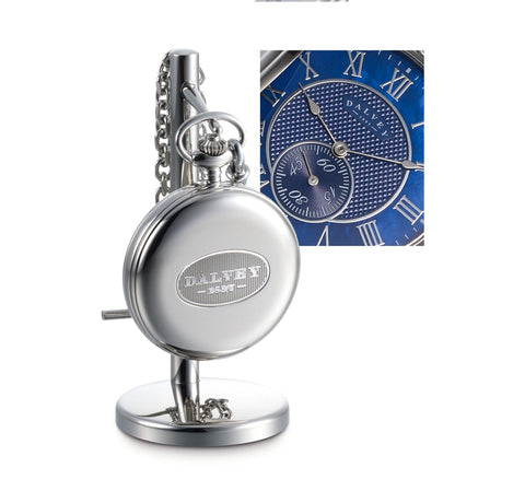 FULL HUNTER POCKET WATCH BLUE MOTHER OF PEARL & STAND SET