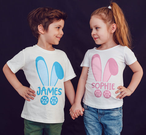 Happy Easter Blue bunny Pink Bunny Personalized your name Kids T Shirts-Gildan-Daataadirect.co.uk