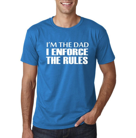 I'm the dad I enforce the rules Mens T Shirts White-Gildan-Daataadirect.co.uk