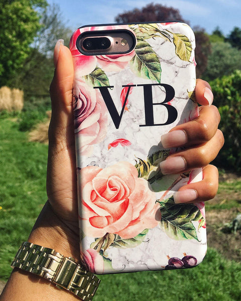 Personalised Watercolor Floral Initials iPhone XS Case