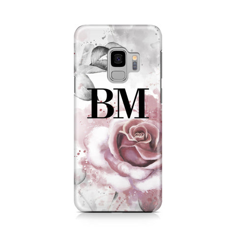 Personalised Floral Rose Initials Samsung Galaxy S9 Case