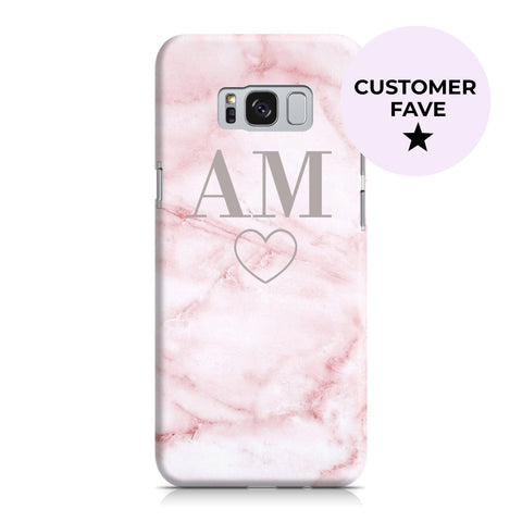 Personalised Cotton Candy Heart Marble Initials Samsung Galaxy S9 Case