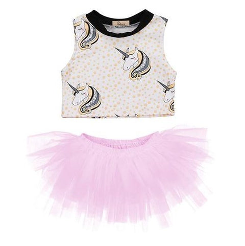 Unicorn Crop Top + Tutu Skirt