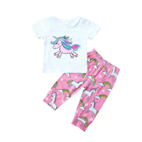 Unicorn White Shirt & Pink Pants