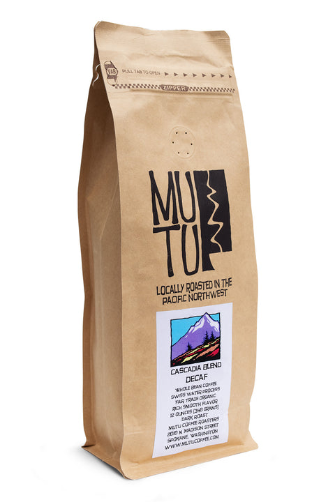 12 ounce bag of Cascadia Swiss Water Process Decaf Blend by Mutu Coffee