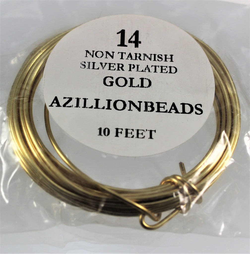 14g Gold Copper Core Wire, Non Tarnish Silver Plated,  10ft - Azillion Beads