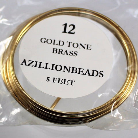 12g Brass Wire, Gold Tone Brass, 5ft - Azillion Beads