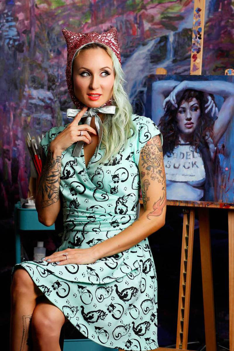 Painted Cats Wrap Dress - shopjessicalouise.com