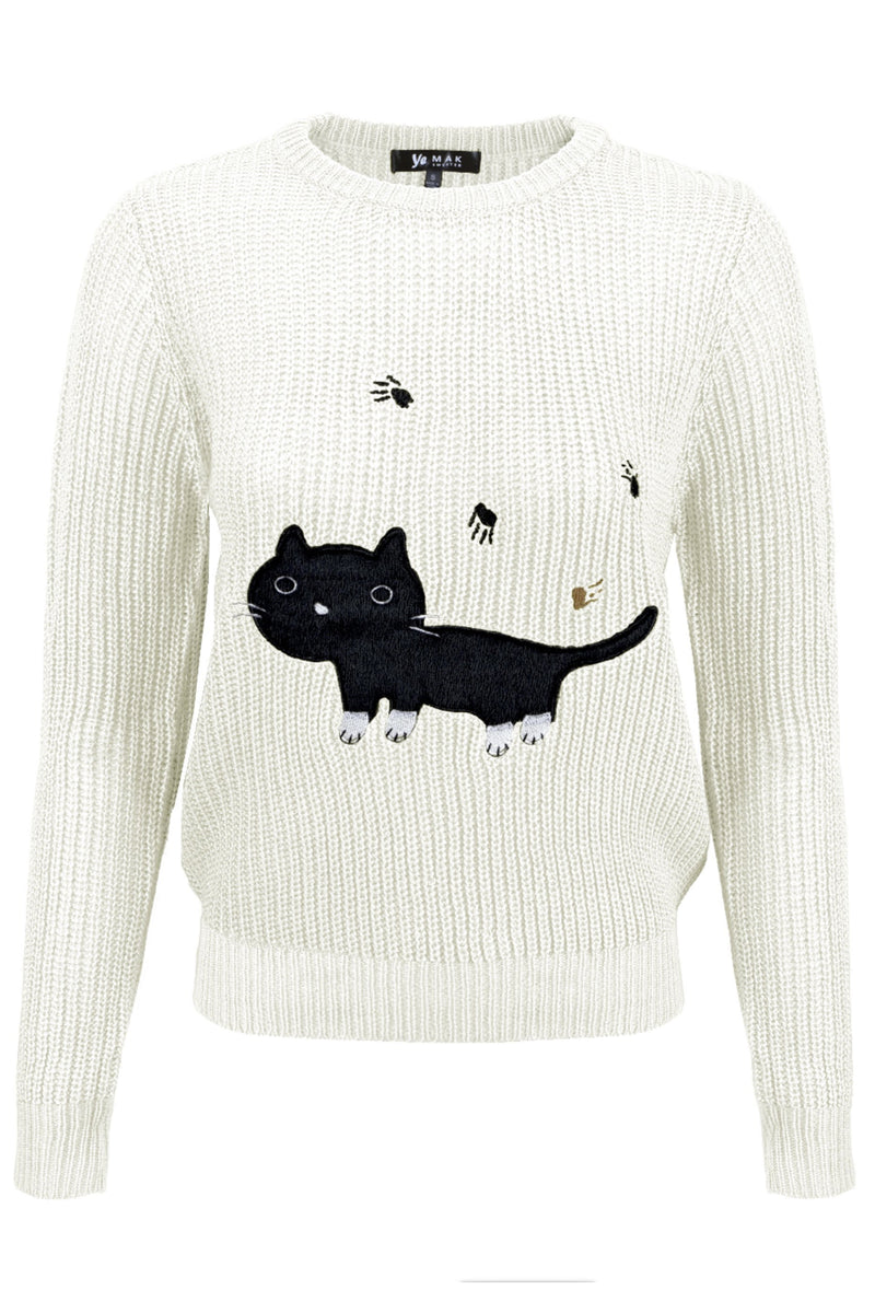 Black Cat Applique Crewneck Long Sleeve Pullover Casual Knit Sweater White - shopjessicalouise.com