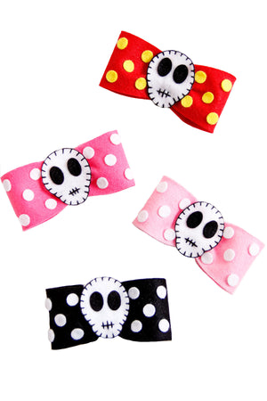 Felt Dot Skull Hair Bow - shopjessicalouise.com