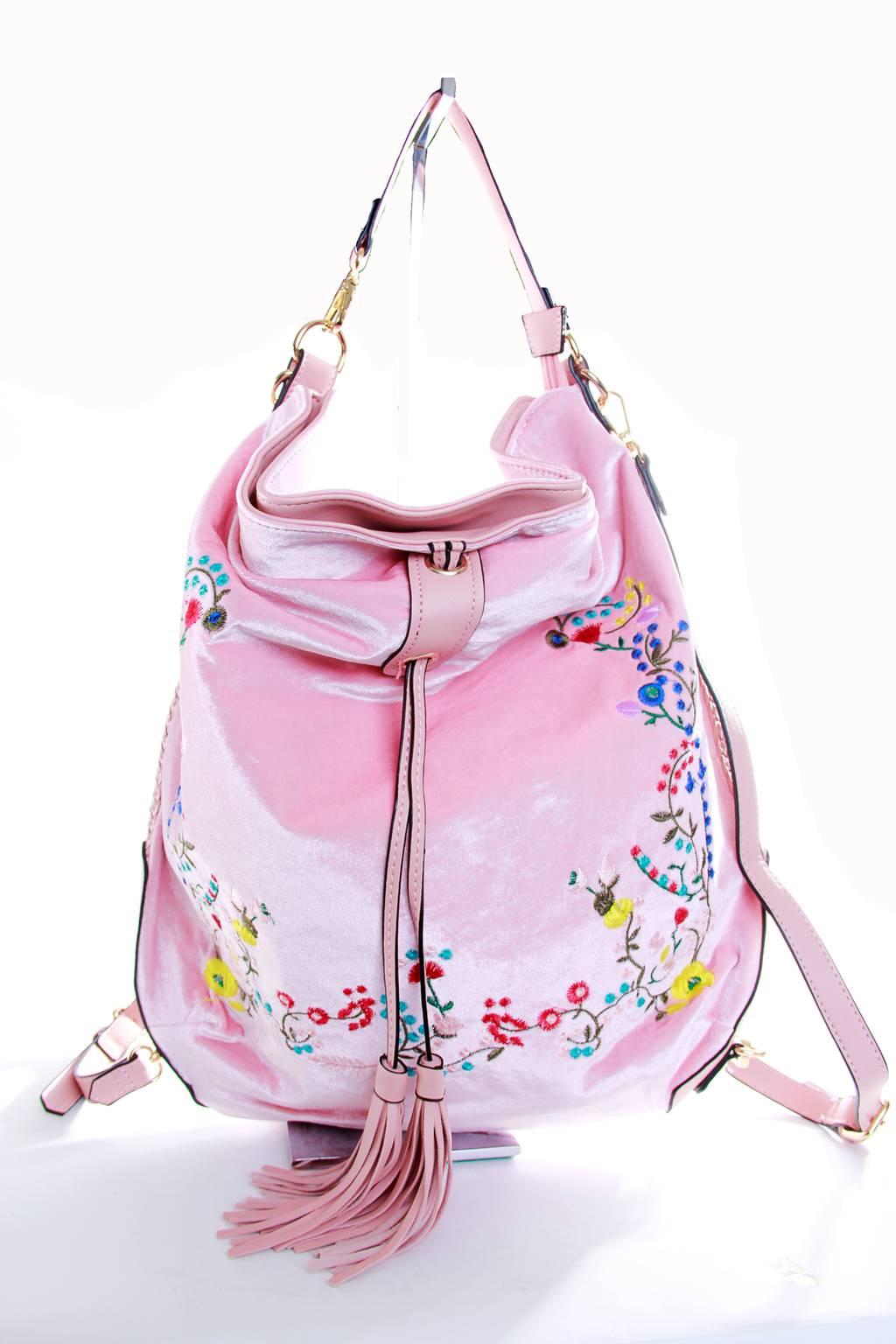 Velvet Floral Embroidered Backpack - shopjessicalouise.com
