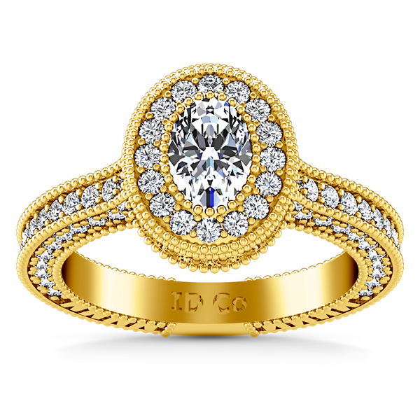 Halo Oval Engagement Ring Hannah 14K Yellow Gold