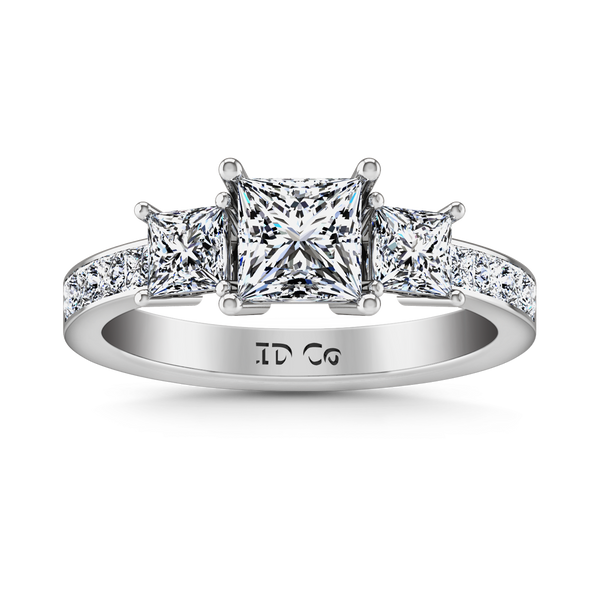 Three Stone Princess Cut Engagement Ring Rebecca 14K White Gold