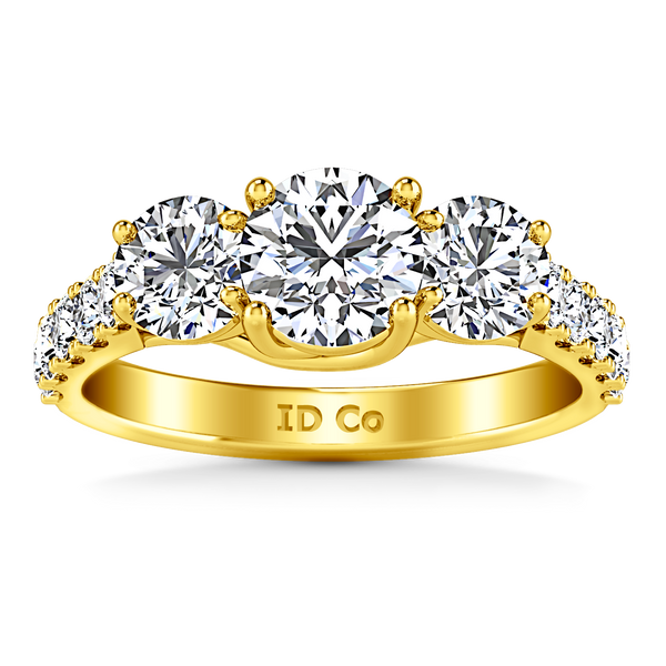 Three Stone Engagement Ring Victoria 14K Yellow Gold
