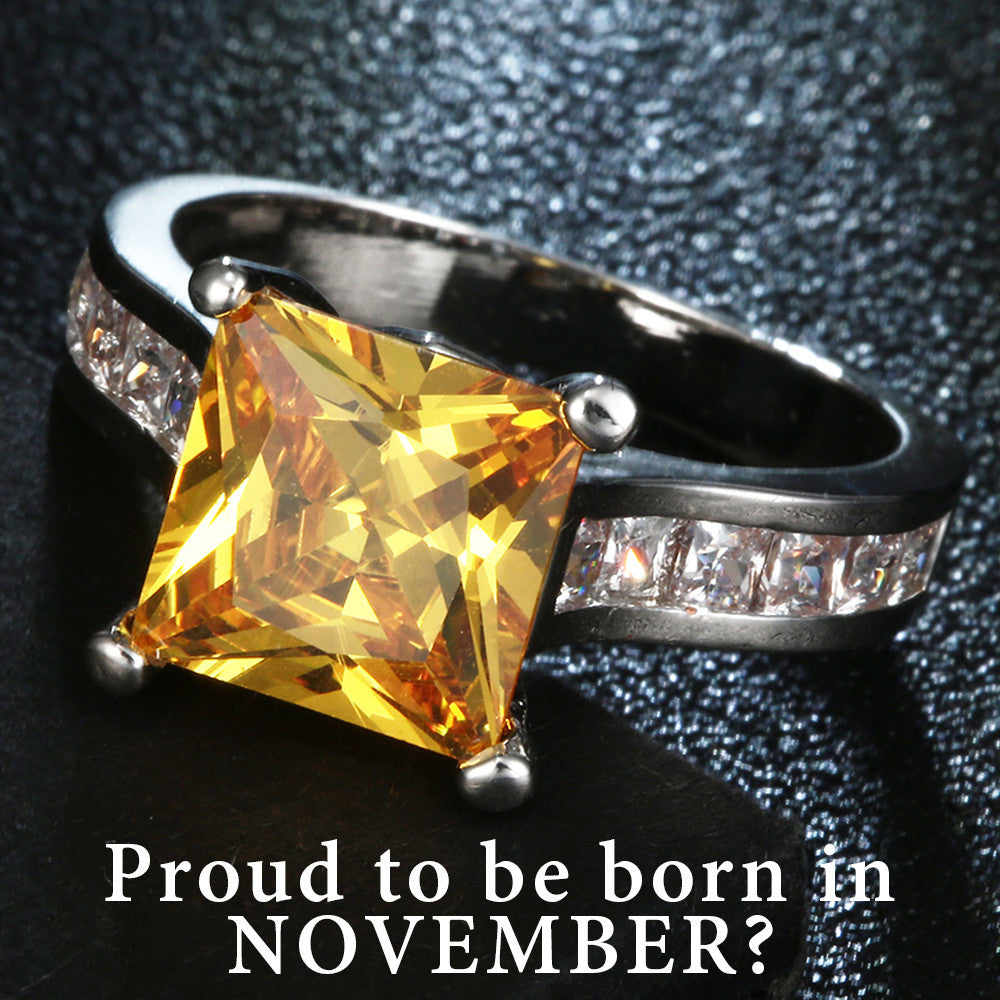 November Birthstone Citrine cz Band