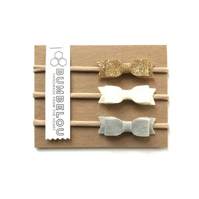 Mini Bows - White, Glitter Gold, Silver