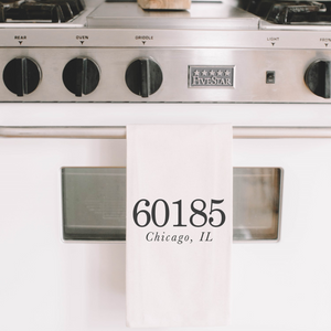 Personalized Zip Code Tea Towel