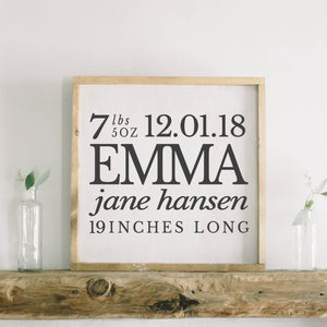 Personalized Birth Stats Square Framed Wood Sign