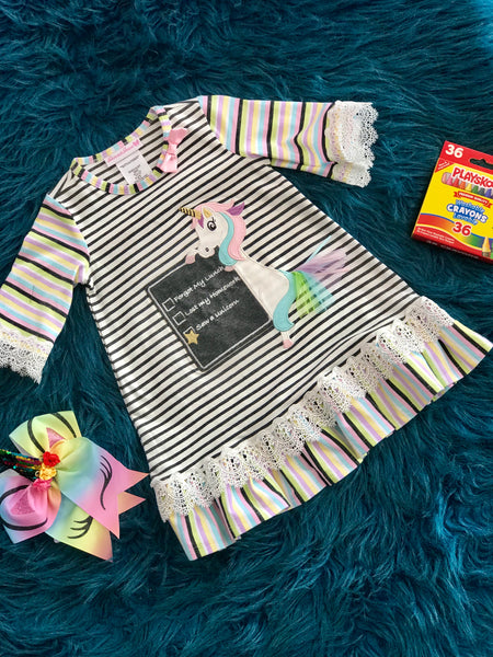 Back To School Unicorn Homework Dress - JEN'S KIDS BOUTIQUE