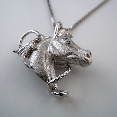 Star Horse Head with CZ Pendant Necklace