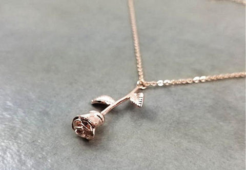 Image of Rose Flower Pendant Necklace - Rose Flower Pendant Necklace