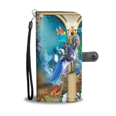 Image of Wallet Case - Riveting Deep Sea Dolphin Mermaid Wallet Phone Case