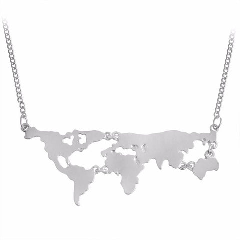 World Map Pendant Necklace - World Map Pendant Necklace