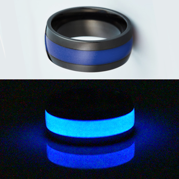 Glow in the dark titanium ring Glowing Rings Carbon 6 Wedding Ring for men women engagement blue luminescent lume rings bands