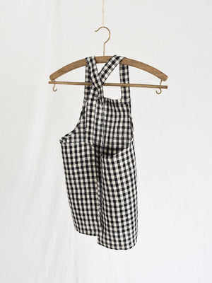 FOG LINEN | KIDS APRON | NAVY WHITE CHECK
