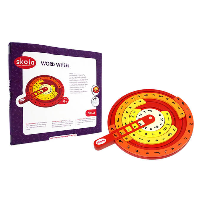 Skola Toys Word Wheel - Wooden Educational Learning Toy
