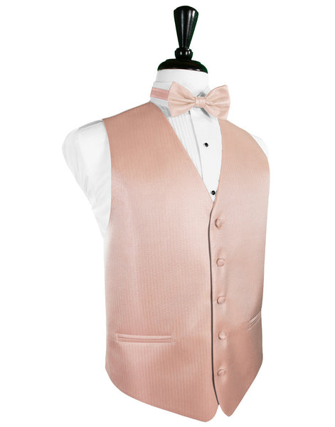 Peach Herringbone Tuxedo Vest and Tie Set