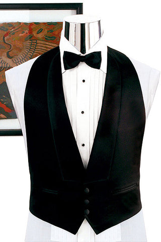Black Backless Tuxedo Vest - Low Cut 3 Button Front