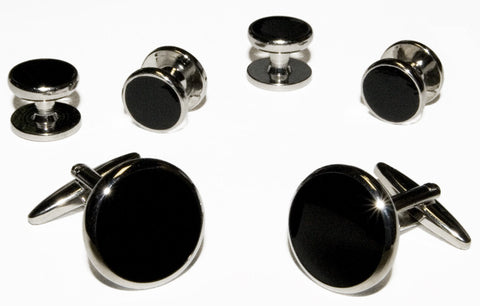 Black Cufflinks & Studs With Silver Trim