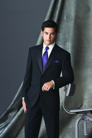 2 Button Peak Lapel Tuxedo By Ike Behar - Super 120'S Wool - Slim Fit Style!