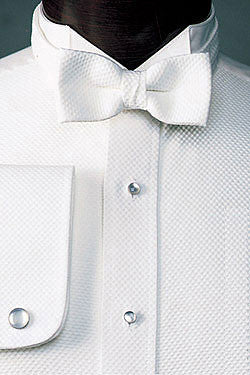 Pique Fabric Wing Collar Formal Shirt - Wing Collar Tuxedo Shirt for Tails
