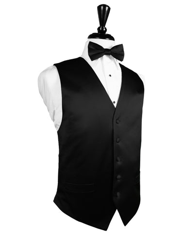 Black Noble Silk Full Back Tuxedo Vest by Cristoforo Cardi