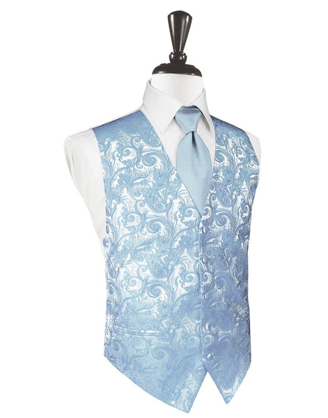Light Blue Tapestry Tuxedo Vest and Tie Set