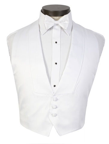 White Backless Tuxedo Vest - Low Cut 3 Button Front