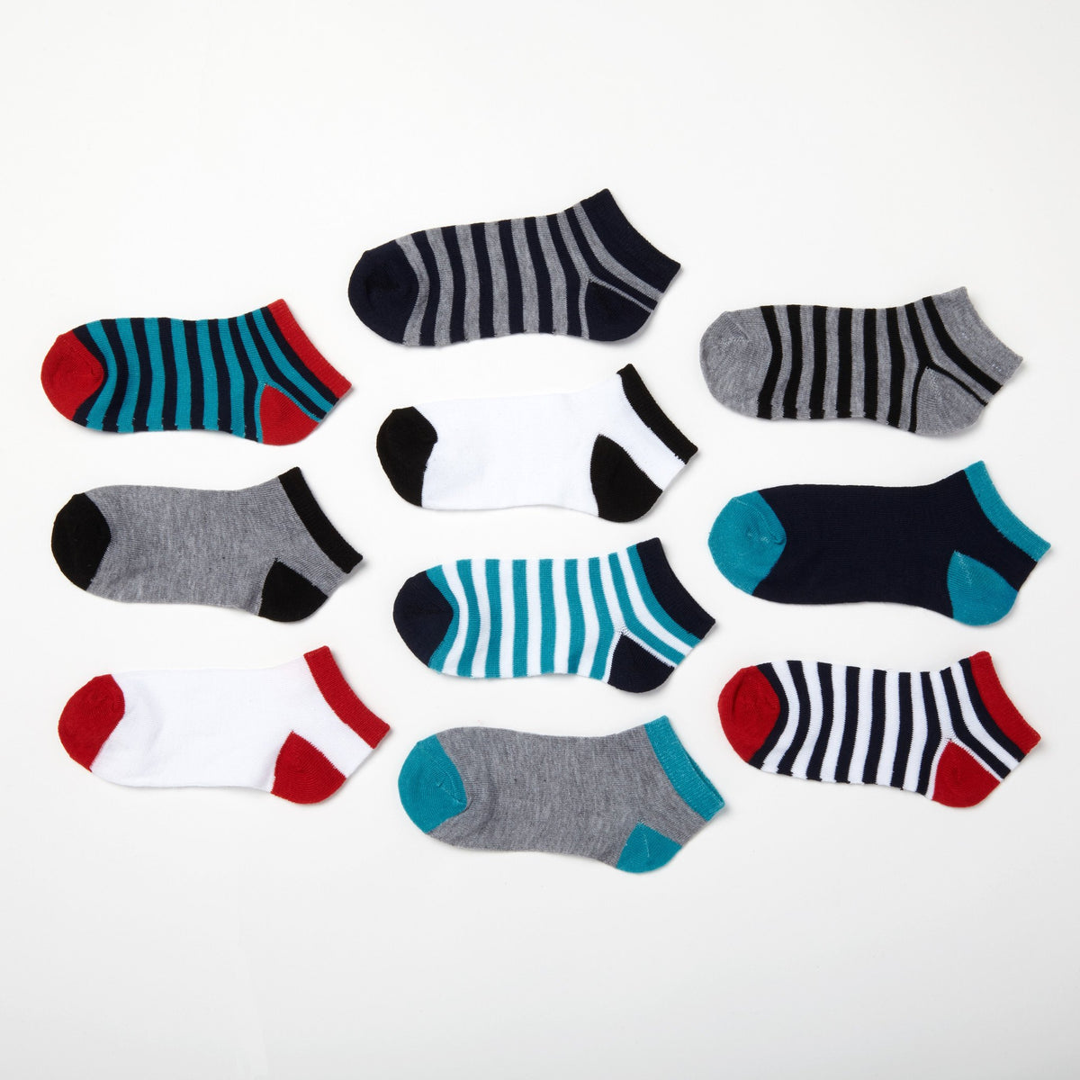 Boys' Solids + Stripes 10-Pack Low Cut Socks 6-8.5